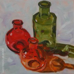 3 bottles - oil painting by Anikó Makay