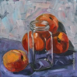 Canned peaches - oil painting y Anikó Makay