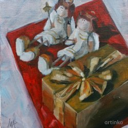 Chocolate watch - oil painting by Anikó Makay