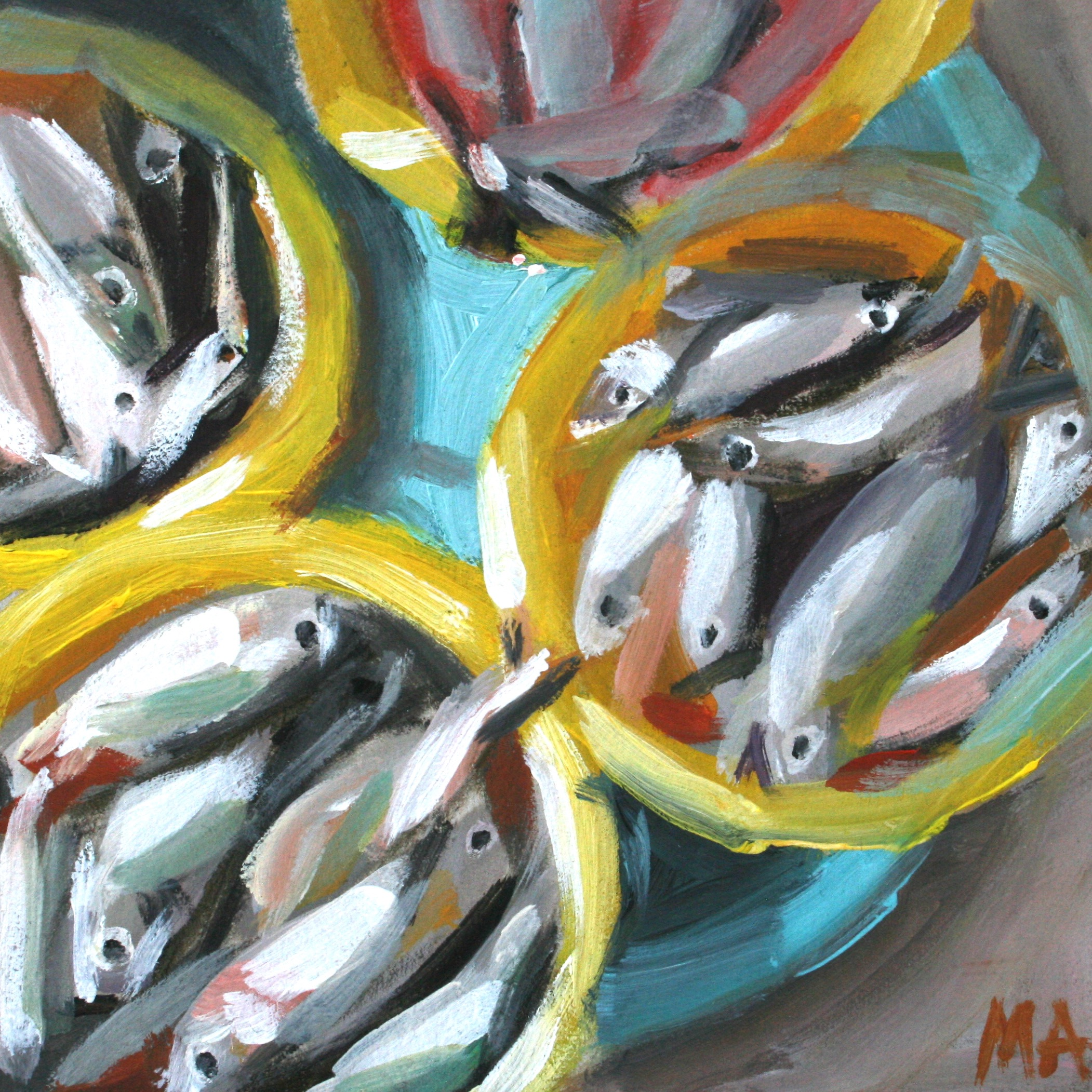Fish Market oil painting by Anikó Makay