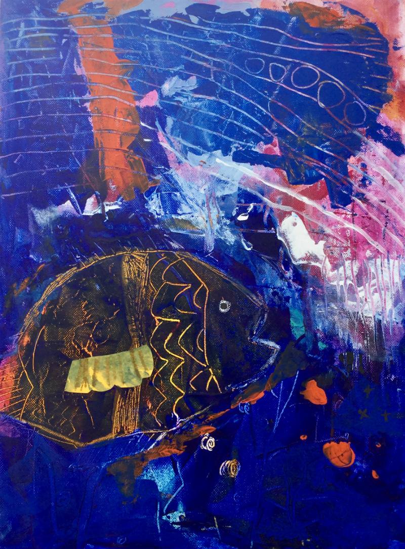 Deep Blue: Aniko Makay original acrylic painting