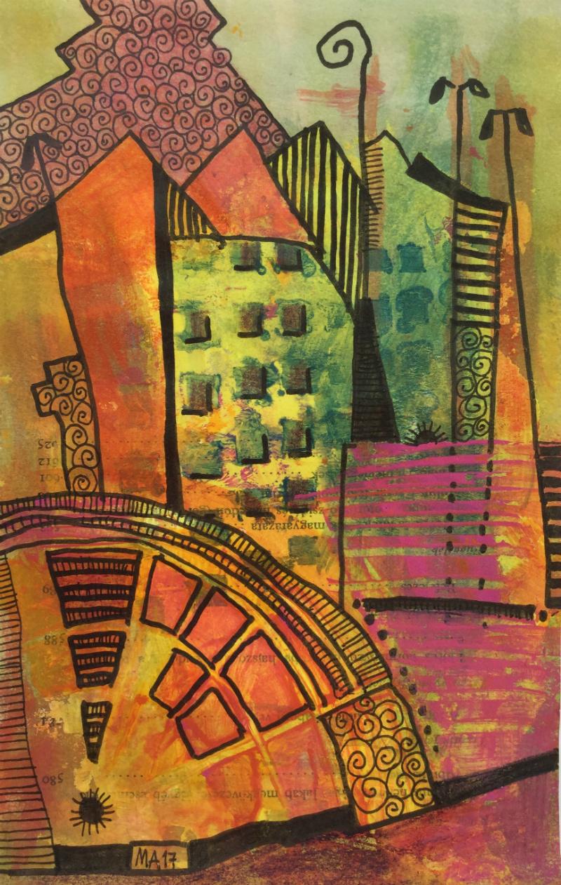 Cityscape: Aniko Makay original acrylic painting