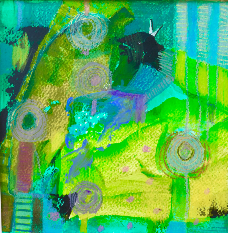 Lost in greens: Aniko Makay original acrylic painting