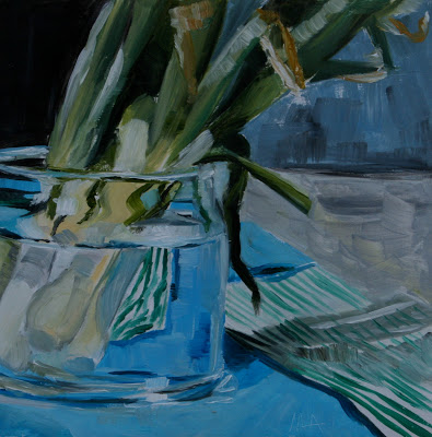 Bunch of green onions - oil painting by Anikó Makay