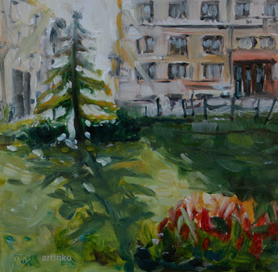 Christmas tree in August - oil painting by Anikó Makay