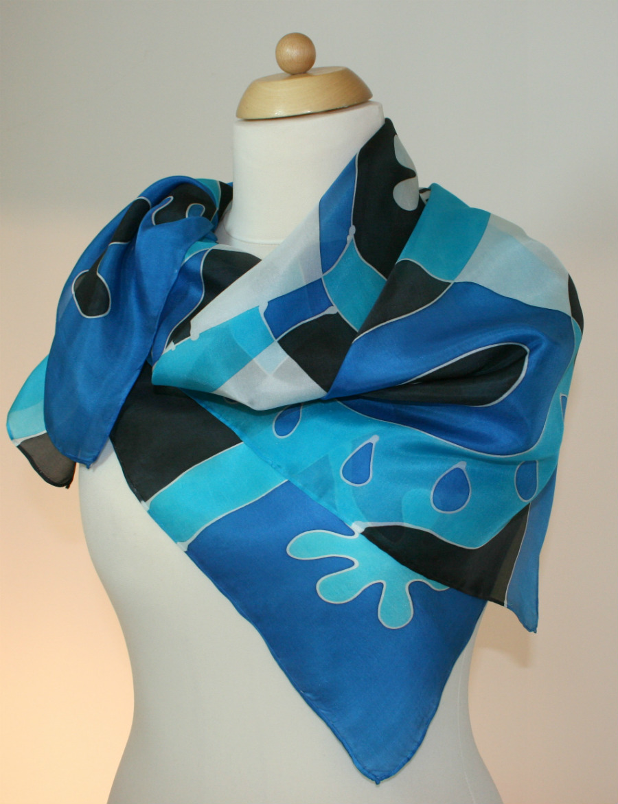 Blue handpainted pure silk scarf by Artinko