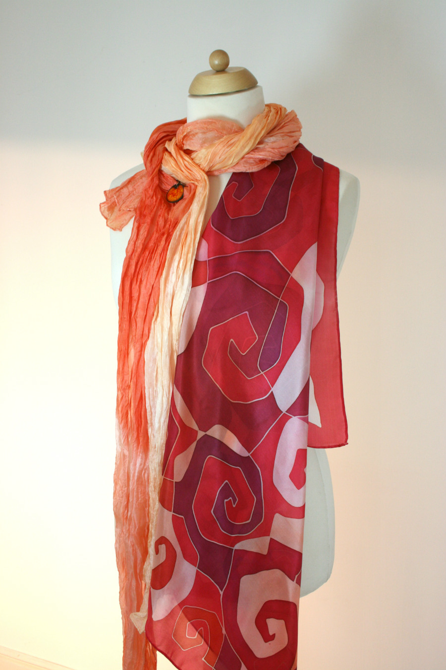 Red handpainted pure silk scarf by Artinko
