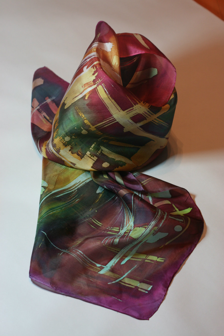 Handpainted pure silk scarf by Artinko