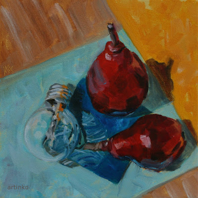 Pear friendship - oil painting by Anikó Makay