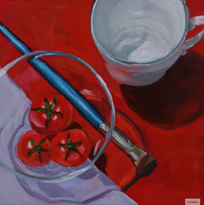 Reds on red - oil painting by Anikó Makay