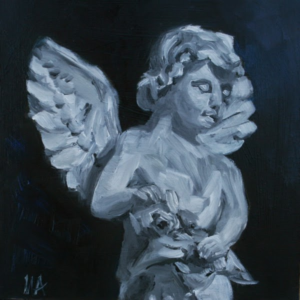 Angel - oil painting by Anikó Makay