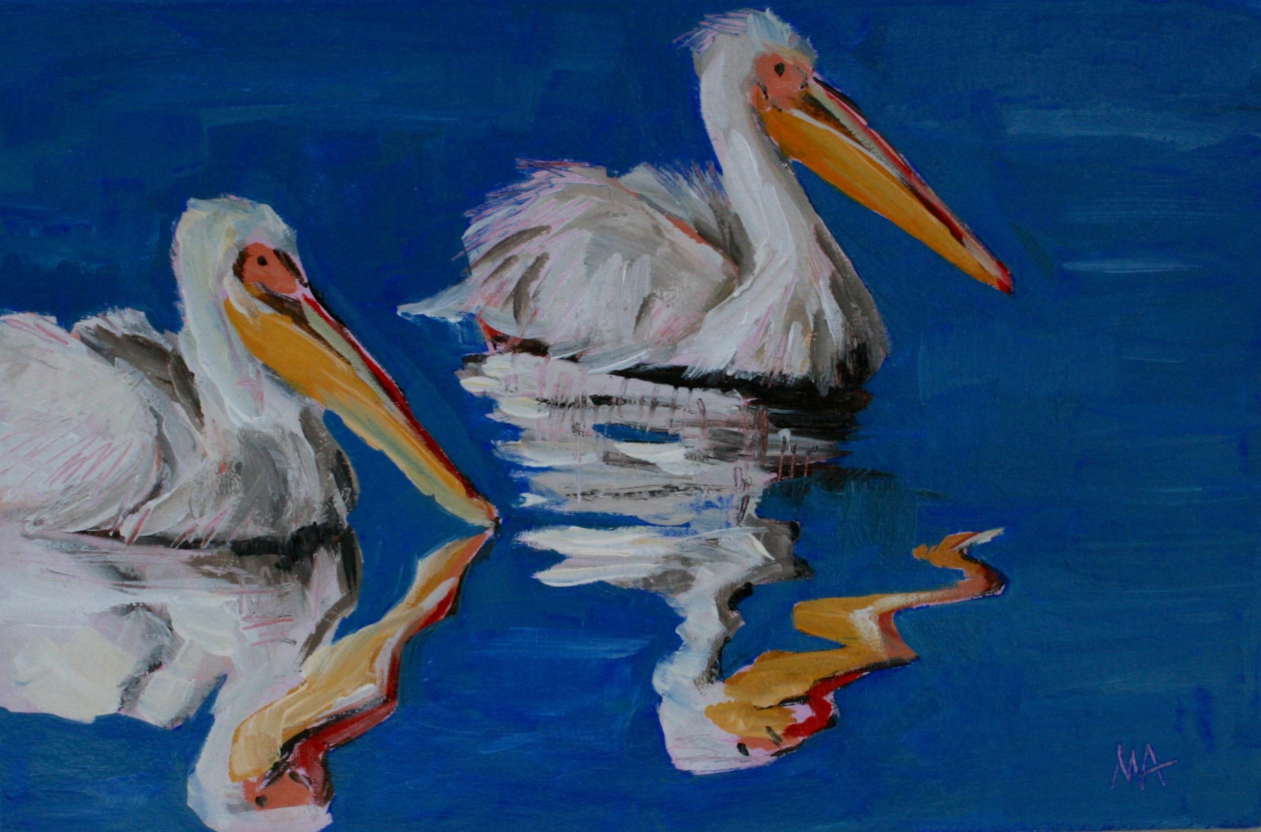 Birdies -oil painting by Anikó Makay