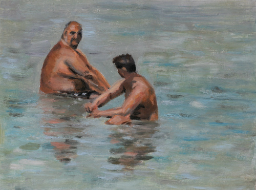 In the water - by Artinko - oil on gessoboard