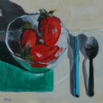 Strawberry Marker Spoon - oil painting by Anikó Makay