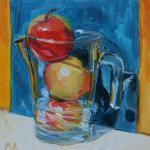 Apple juice - oil painting by Anikó Makay