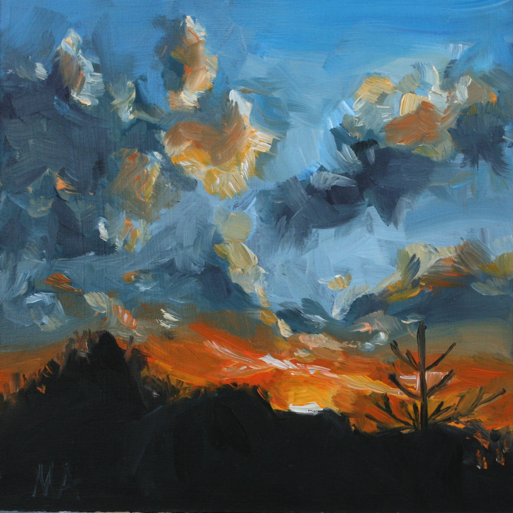 Sunset- oil painting by Anikó Makay