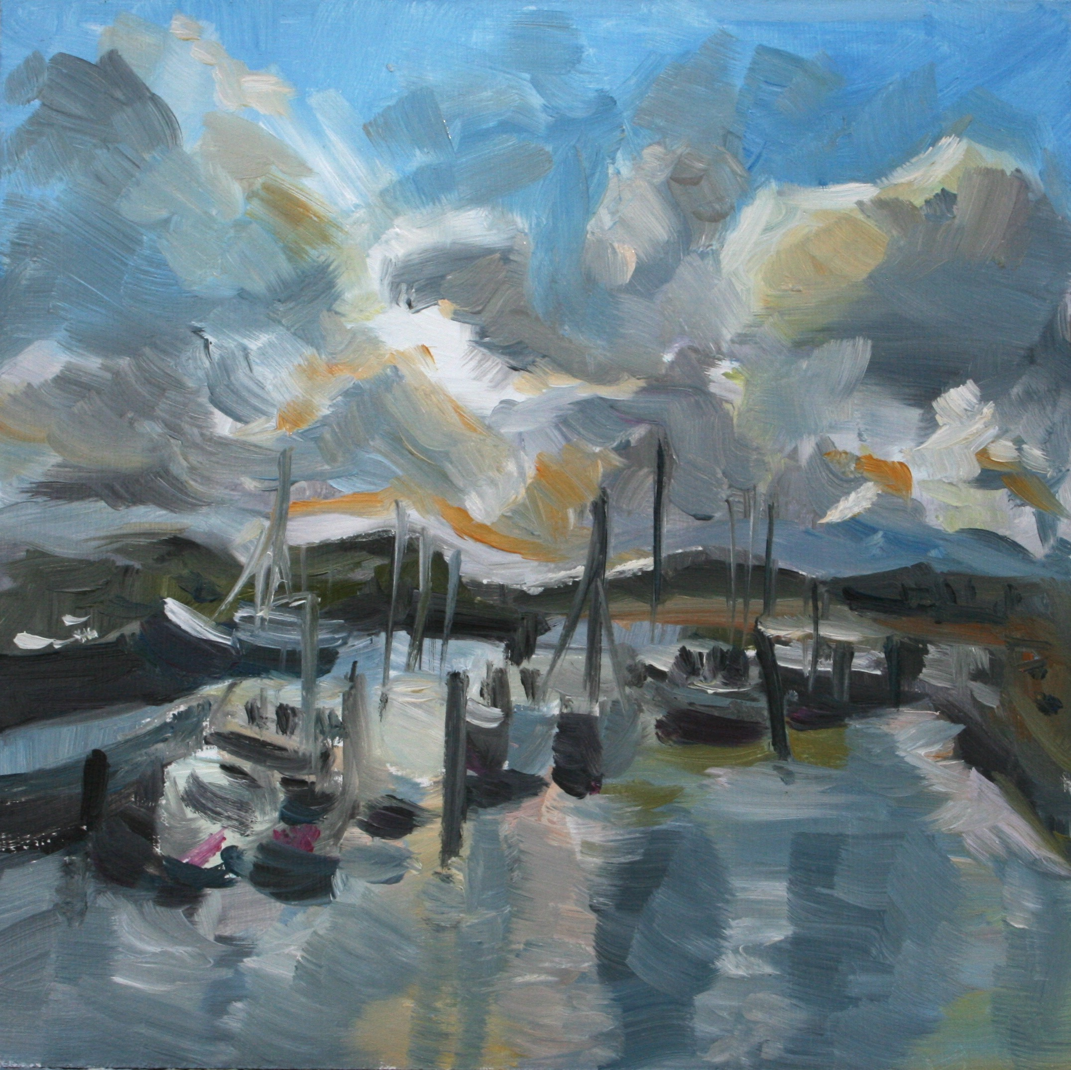 Harbour - oil painting by Anikó Makay