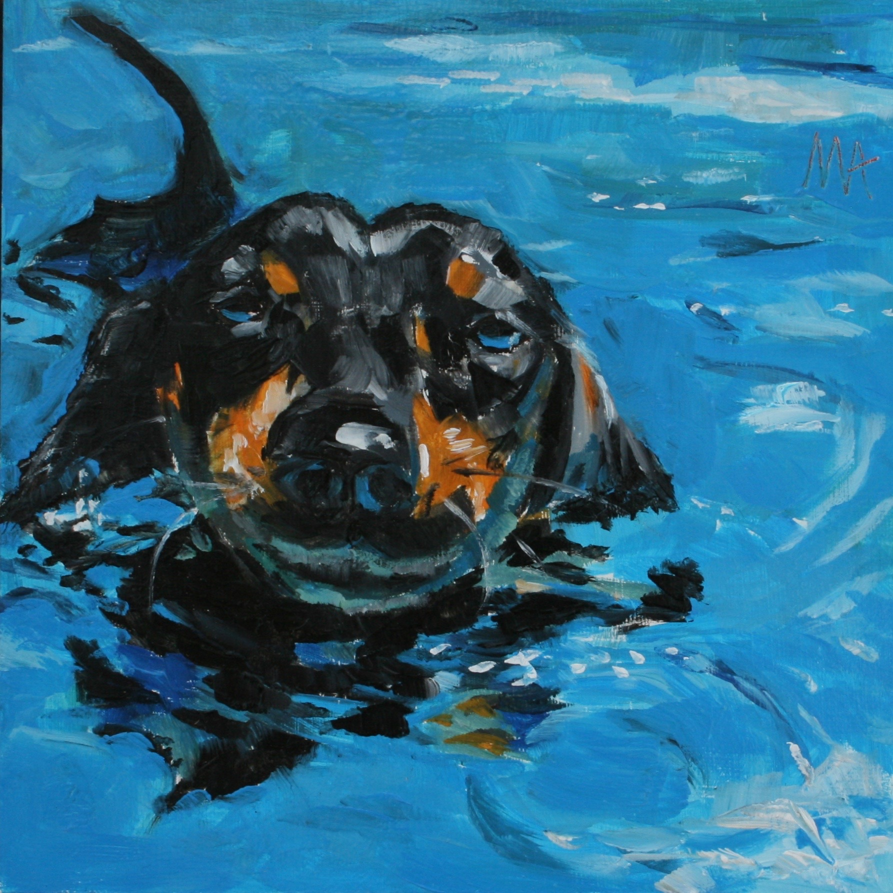 Swimming  oil painting by Anikó Makay