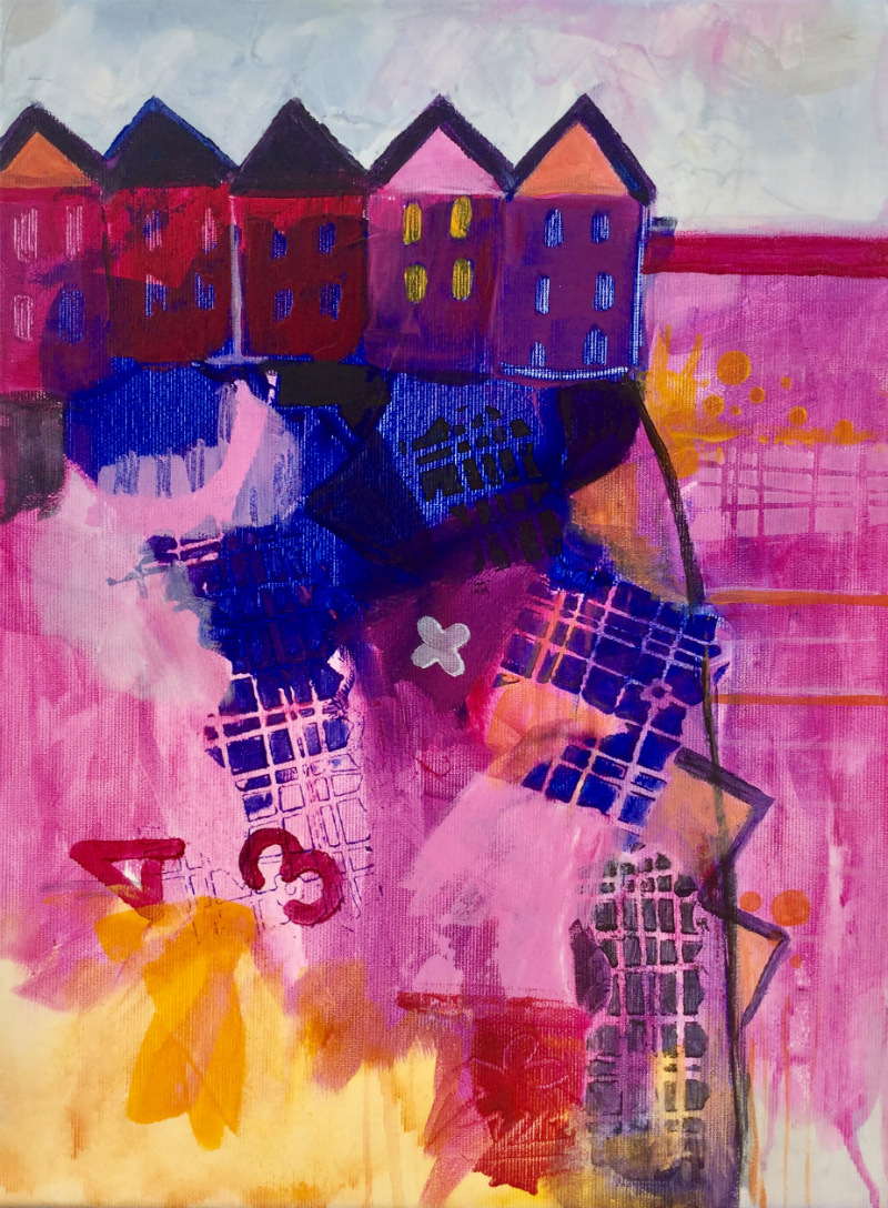 Houses in the pink: Aniko Makay original acrylic painting