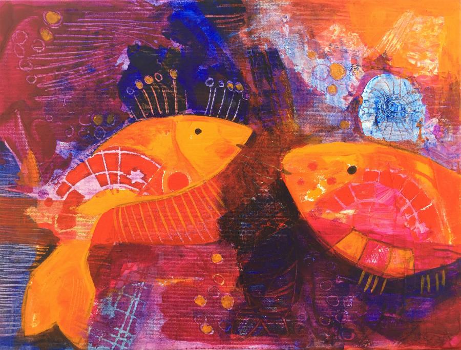 Dig you: Aniko Makay original acrylic painting