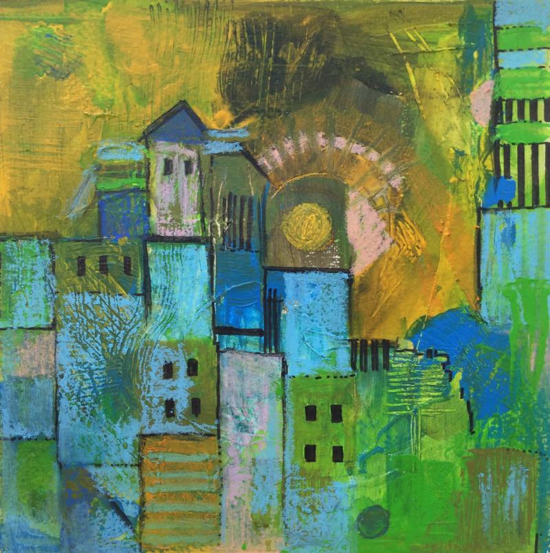 City feeling: Aniko Makay original acrylic painting