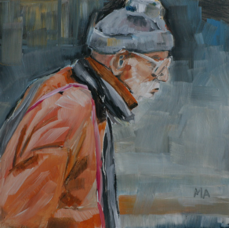 Thinking hard - by Artinko - oil on gessoboard